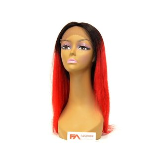 "FA-FANCY T1B-RED-22"": 100% VIRGIN HUMAN HAIR LACE FRONT WIG"