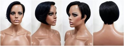 MD-SLPV-WILLA: LACE PART SHORT STRAIGHT PAGE BOY WIG