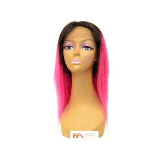 "FA-FANCY T1B-PINK-14"": 100% VIRGIN HUMAN HAIR LACE FRONT WIG"