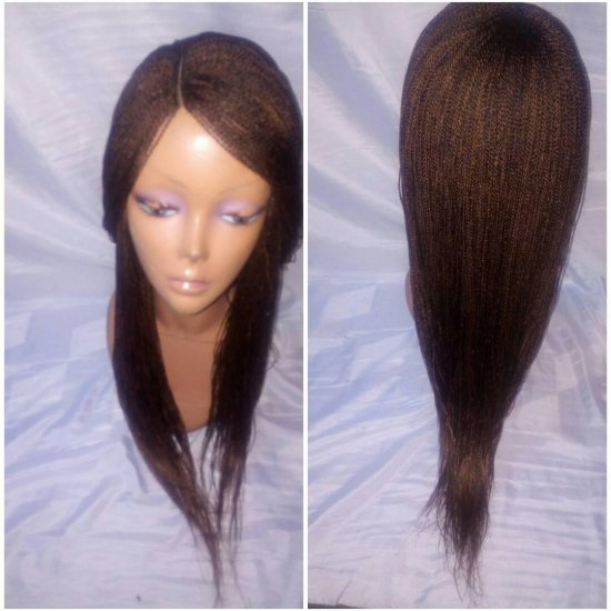 OPY-SHOULDER LENGTH: 100% HAND MADE TWIST BRAID LACE PART WIG - Click Image to Close