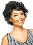 CHO-ECO-208: ECO QUALITY HUMAN HAIR BLENDED CURLY MEDIUM WIG