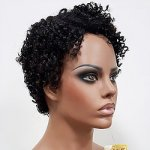 MD-LPW-147: LACE PART SHORT AFRO CURLY BOY CUT WIG